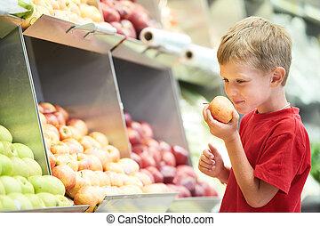 孩子男孩, 選擇, 水果, 蔬菜, 購物