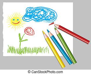 孩子的图, 同时,, 彩色的铅笔