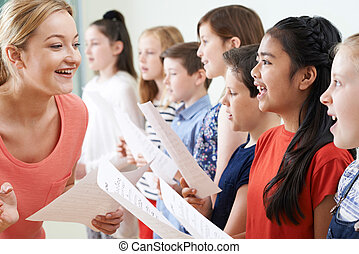 孩子的組, 由于, 老師, 享用, 唱, 組