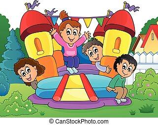 孩子, 上, 可膨脹, 城堡, 主題, 2