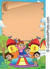 孩子, 上, 可膨脹, 城堡, 羊皮紙, 1