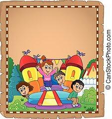 孩子, 上, 可膨脹, 城堡, 羊皮紙, 2