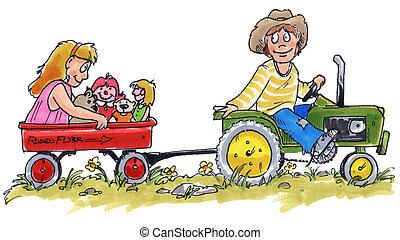 孩子, 上, a, 拖拉机