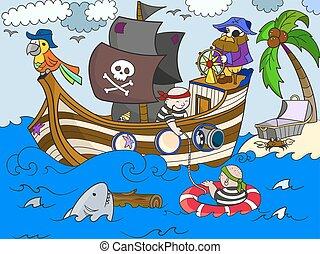 孩子, 上, the, 主題, ......的, 海盜, 矢量