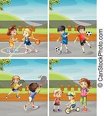 孩子, 不同, 公園, 玩, 運動