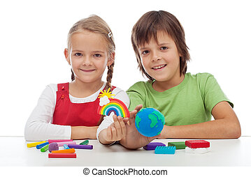孩子, 主题, 生态, 数字, 粘土, 做
