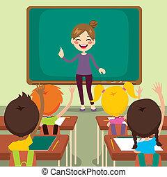 孩子, 以及, 老師, 上, 教室