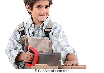 孩子, 假装, 对于, 是, a, 成人, 木匠