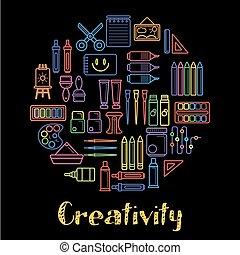 孩子, 創造性, 以及, 孩子, 藝術, 設計, 海報, ......的, 畫工具, 染料灌木地帶, 以及, 鉛筆,...