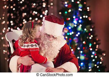 孩子, 同时,, santa, 在, 火地方, 在上, 圣诞夜