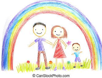 孩子, 图, 家庭, 开心