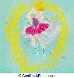孩子, 圖畫, -, 跳舞, 芭蕾舞女演員