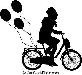 孩子, 在一辆自行车上