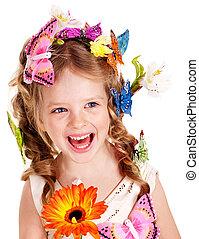 孩子, 在, 春天, 發型, 以及, butterfly.