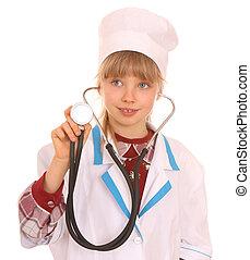 孩子, 在, 服裝, ......的, 醫生。