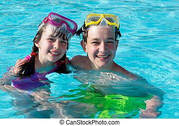 孩子, 在, 游泳池