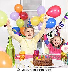 孩子, 在, 生日
