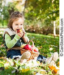 孩子, 在, 秋天, 公園