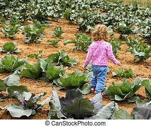 孩子, 在, 花園