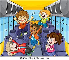 孩子, 在, the, 公共汽車
