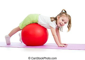 孩子, 女孩, 做, 体操練習, 由于, fitball