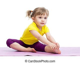 孩子, 女孩, 做, 健身, 鍛煉
