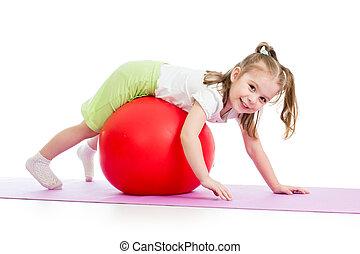 孩子, 女孩, 做, 适合鍛煉, 由于, fitball