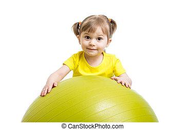 孩子, 女孩, 由于, 体操球, 被隔离, 在懷特上, 背景