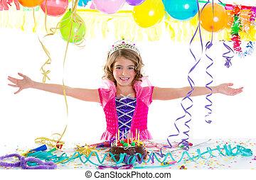 孩子, 孩子, 王冠, 公主, 在, 生日聚會