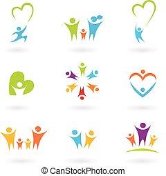 孩子, 家庭, 社区, 图标
