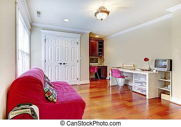 孩子, 家研究, 扮演房間, 內部, 由于, 粉紅色, sofa.