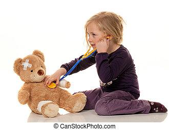 孩子, 带, a, 听诊器, 作为, a, 医生。, 儿科医师, 检查, 患者