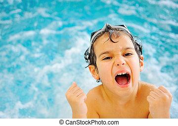 孩子, 幸福, 在, 池
