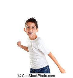 孩子, 打孔機, 男孩, 有趣, 姿態, 微笑