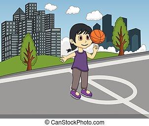 孩子, 打篮球, 在公园