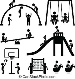 孩子, 操场, 户外, 公园