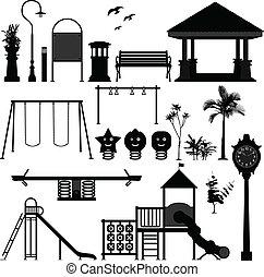 孩子, 操場, 公園, 花園
