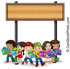 孩子, 样板, 设计, 握住, 旗帜, 礼物