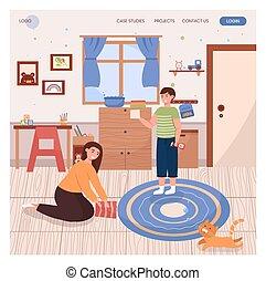 孩子, 概念, template., 设计, 网站, 描述, illustration., 网, 着陆, 寝室, 一起。, 打扫, 矢量, 兄弟, 页, 站点, 清洁, 房子, 姐妹