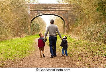 孩子, 步行, 由于, 他們, 父親