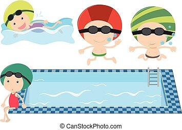 孩子, 池, 游泳