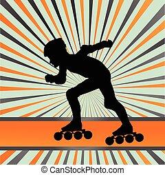 孩子, 滚筒滑冰, 矢量, 背景
