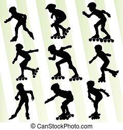 孩子, 滚筒滑冰, 矢量, 背景, 概念