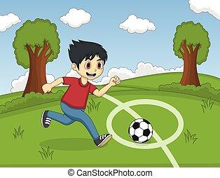 孩子, 演奏英式足球, 在公园
