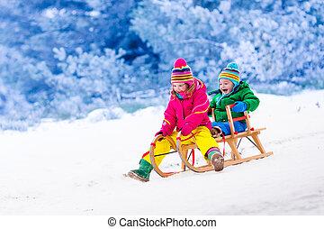 孩子, 玩得高興, 上, 雪橇騎