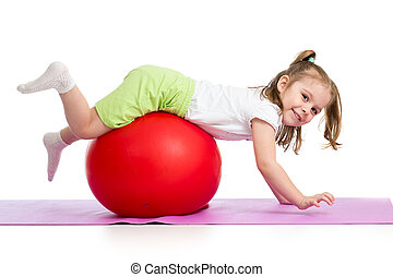 孩子, 玩得高興, 由于, 体操球, 被隔离