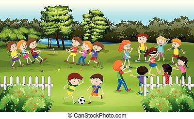 孩子, 玩游戏, 在公园