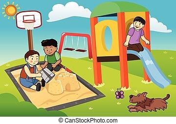 孩子, 玩, 在中, the, 操场
