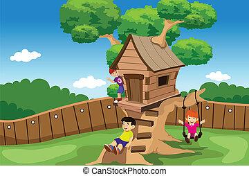 孩子, 玩, 在, a, 樹房子