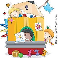 孩子, 玩, 幼儿園